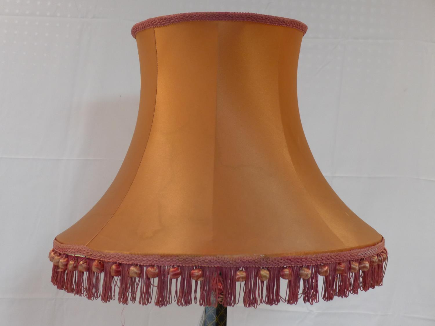 Lot 754 - A 1930's Chinoiserie standard lamp with shade, H.185cm