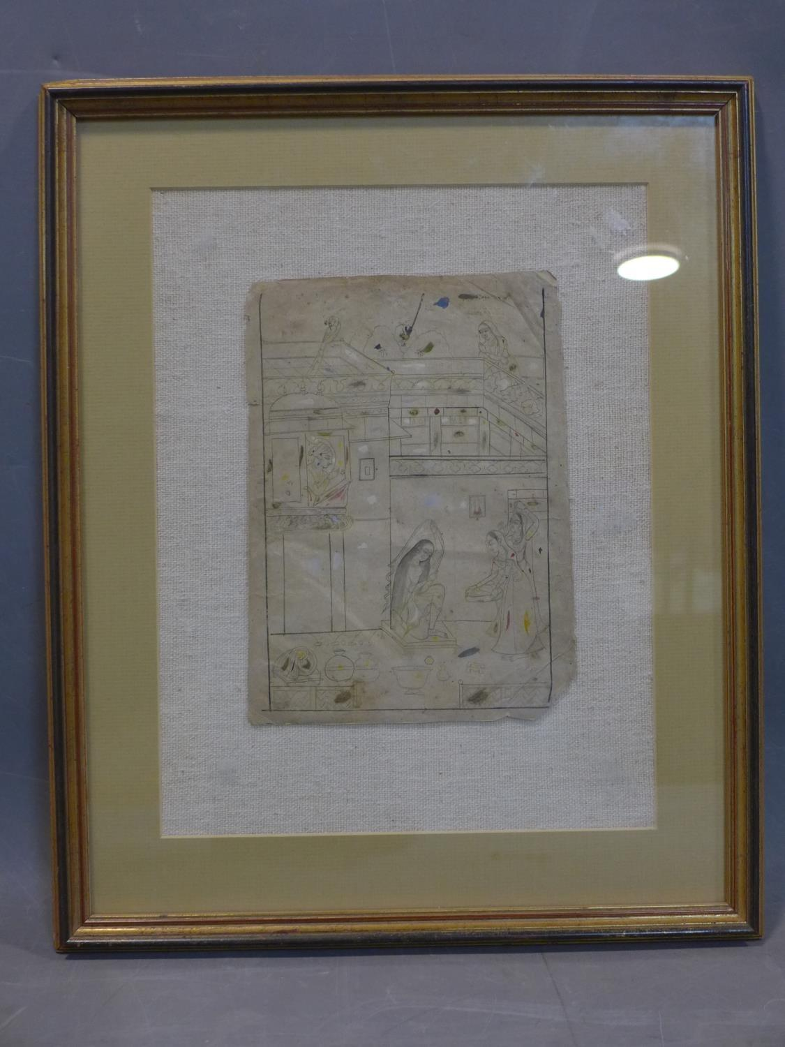 Lot 281 - A 19th century Mughal pencil and watercolour sketch of figures in a palace, with a lady dressing