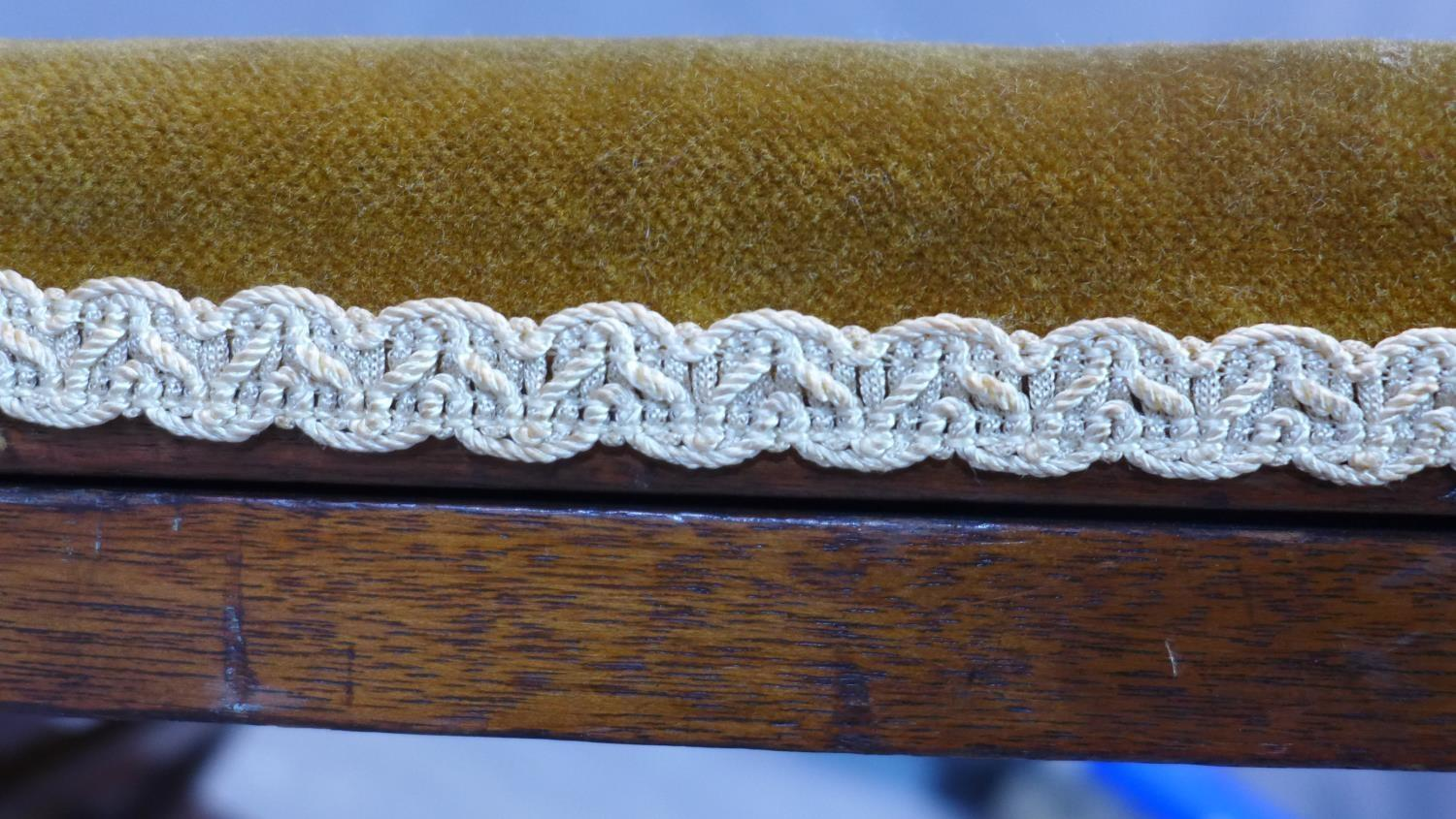 Lot 260 - A 20th century gout stool, with stud bound velour upholstery, adjustable, H.29 W.47 D.63cm