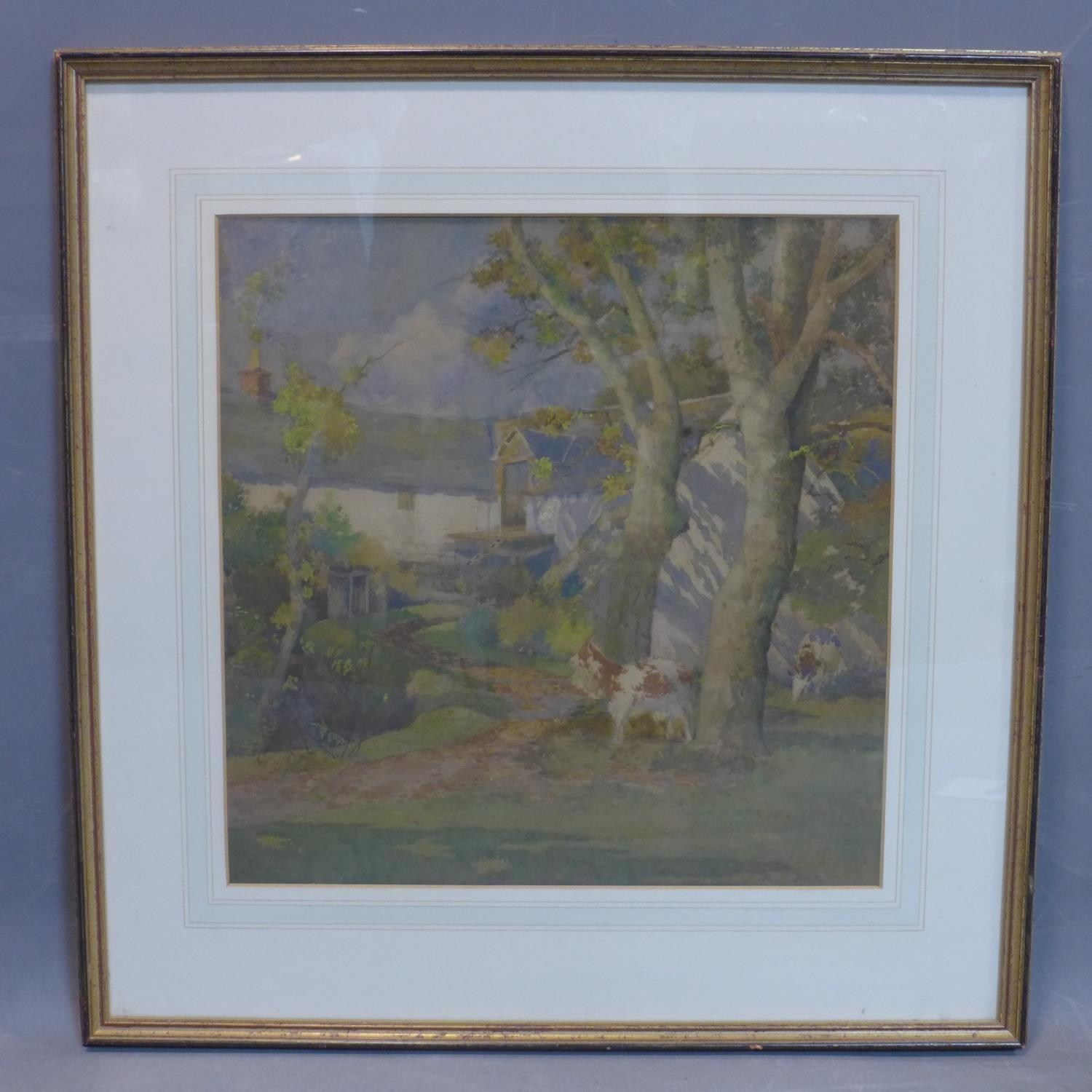 Lot 50 - Alexander P Thomson (1887-1962), 'The farmstead', watercolour, signed, framed and glazed, 48 x 43 cm