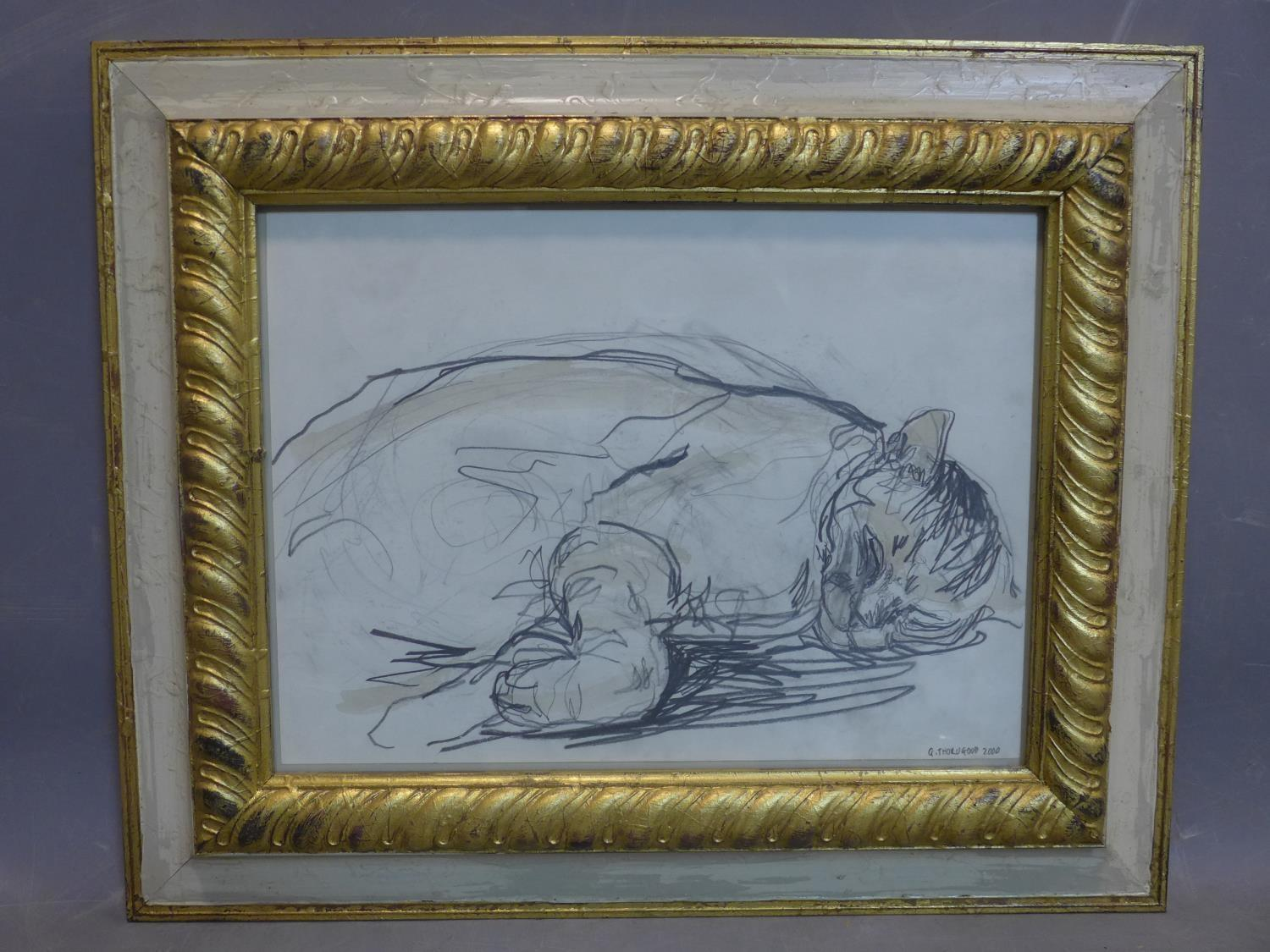 Lot 54 - Contemporary British draughtsman, sleeping cat, pencil and watercolour, signed and dated 'G.