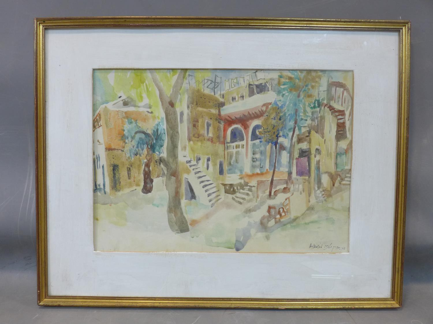 Lot 315 - Abraham Yakin (1924 -), View of Jerusalem, watercolour, signed and dated 'A Yakin 1961', 53 x 68 cm