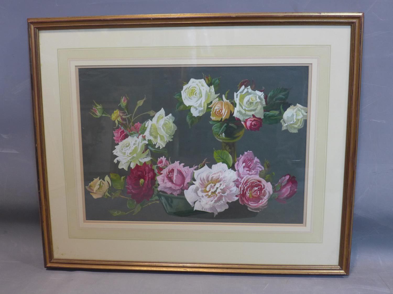 Lot 207 - Jack Boulton (fl. 1875-1920), Still life of Roses, gouache, framed and glazed, 37 x 53cm