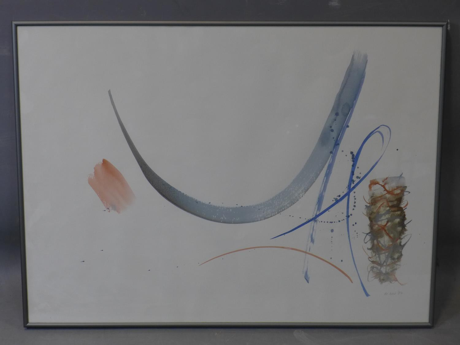 Lot 102 - Hermione Holmes (20th century), abstract study, watercolour, signed 'Mani 87' in pencil to lower