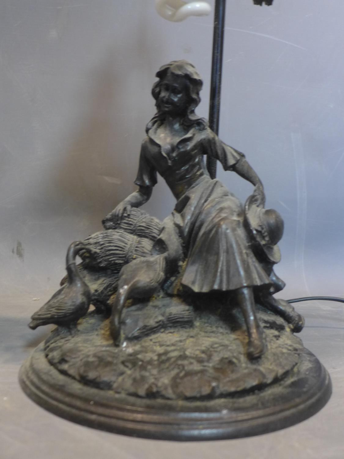Lot 234 - A 20th century moulded lamp in the form of a lady sitting on hay with some geese together with a