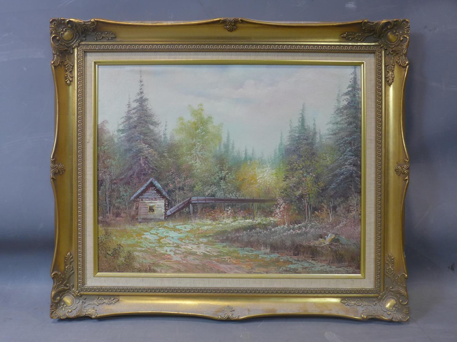 Lot 13 - 20th century school, landscape scene with cottage in a forest, oil on board, in gilt frame, 39 x