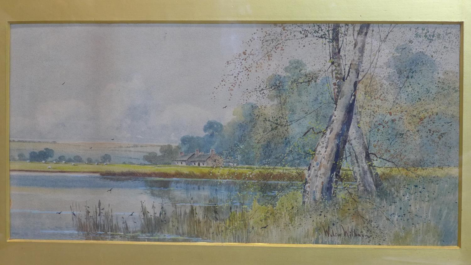 Lot 161 - Walter Witham, two watercolours, one of a lady on a road by a cottage, signed lower left, 25 x 50cm;