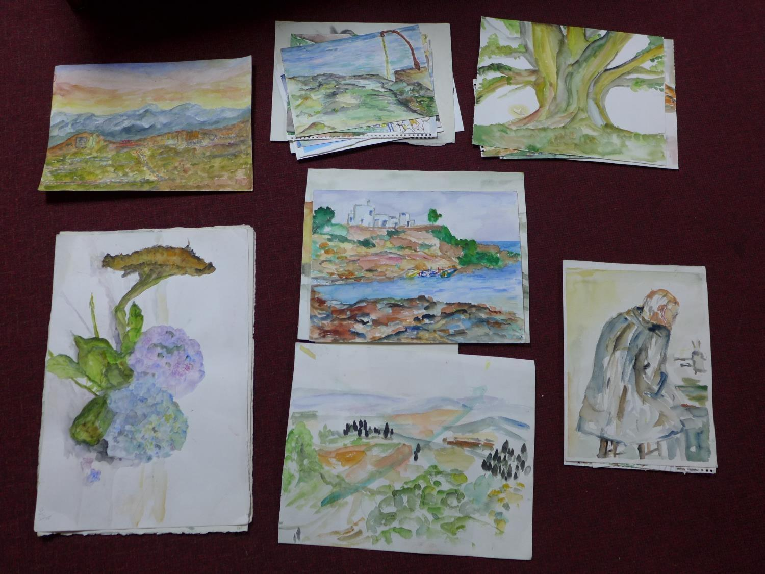 Lot 309 - Patricia Wright (British, 1919 - 2019), Twenty four watercolours of various subjects, some signed