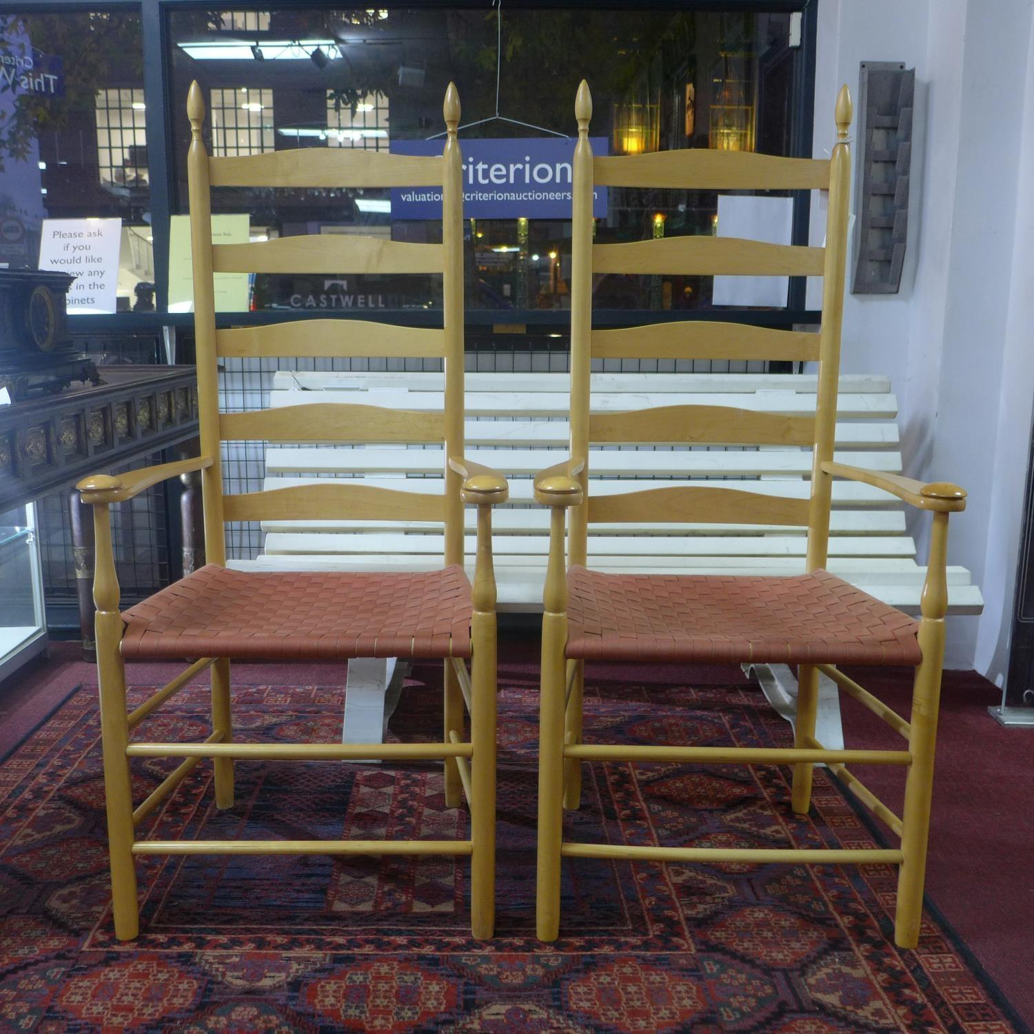 Lot 162 - Two ladder back chairs by Shaker London Ltd