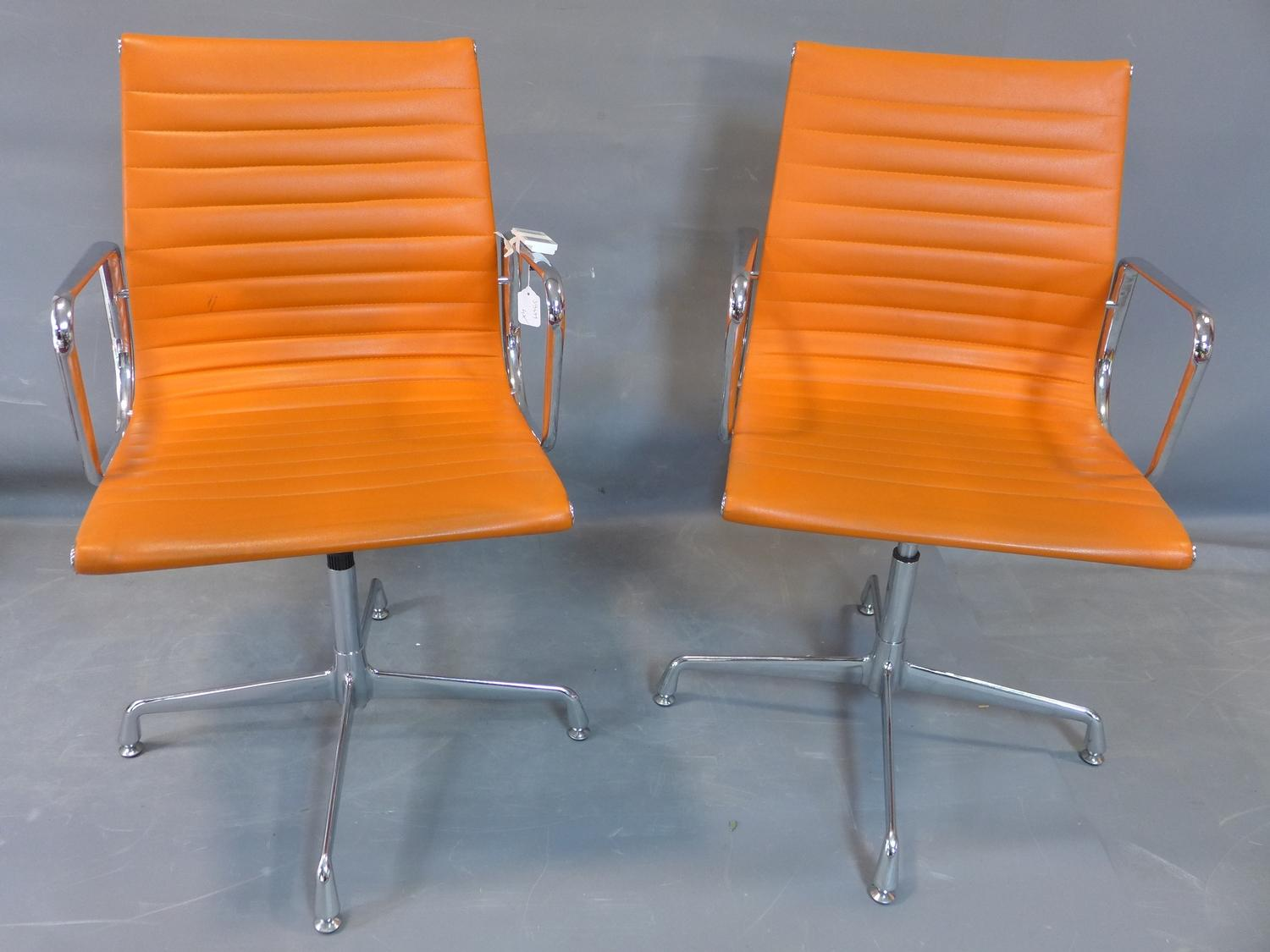 Lot 292 - Four Eames Inspired High Back Ribbed Designer Executive Leather Computer Office Chairs