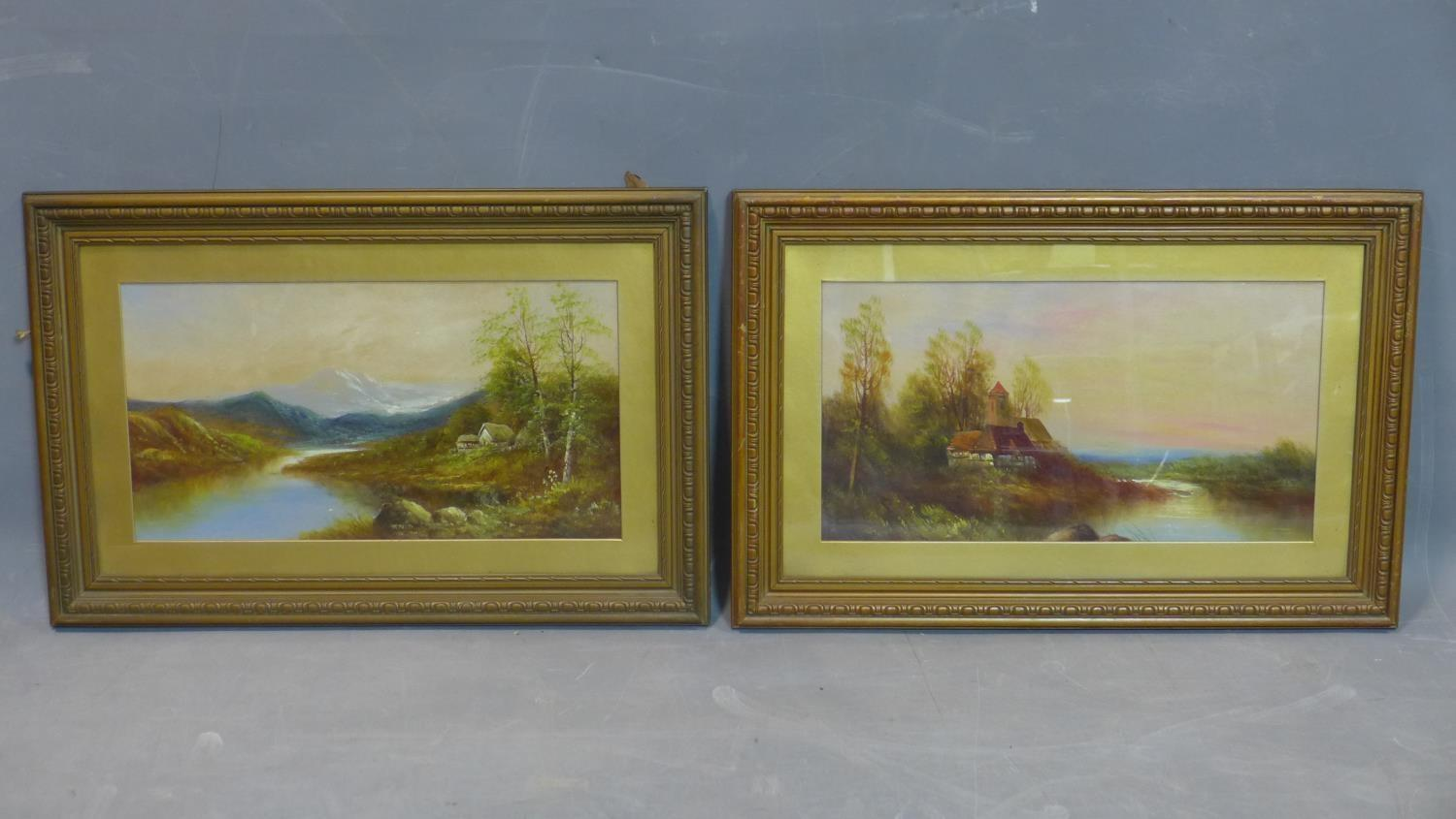 Lot 85 - A pair of oil on boards depicting landscape scenes, one with a cottage with mountains to background;