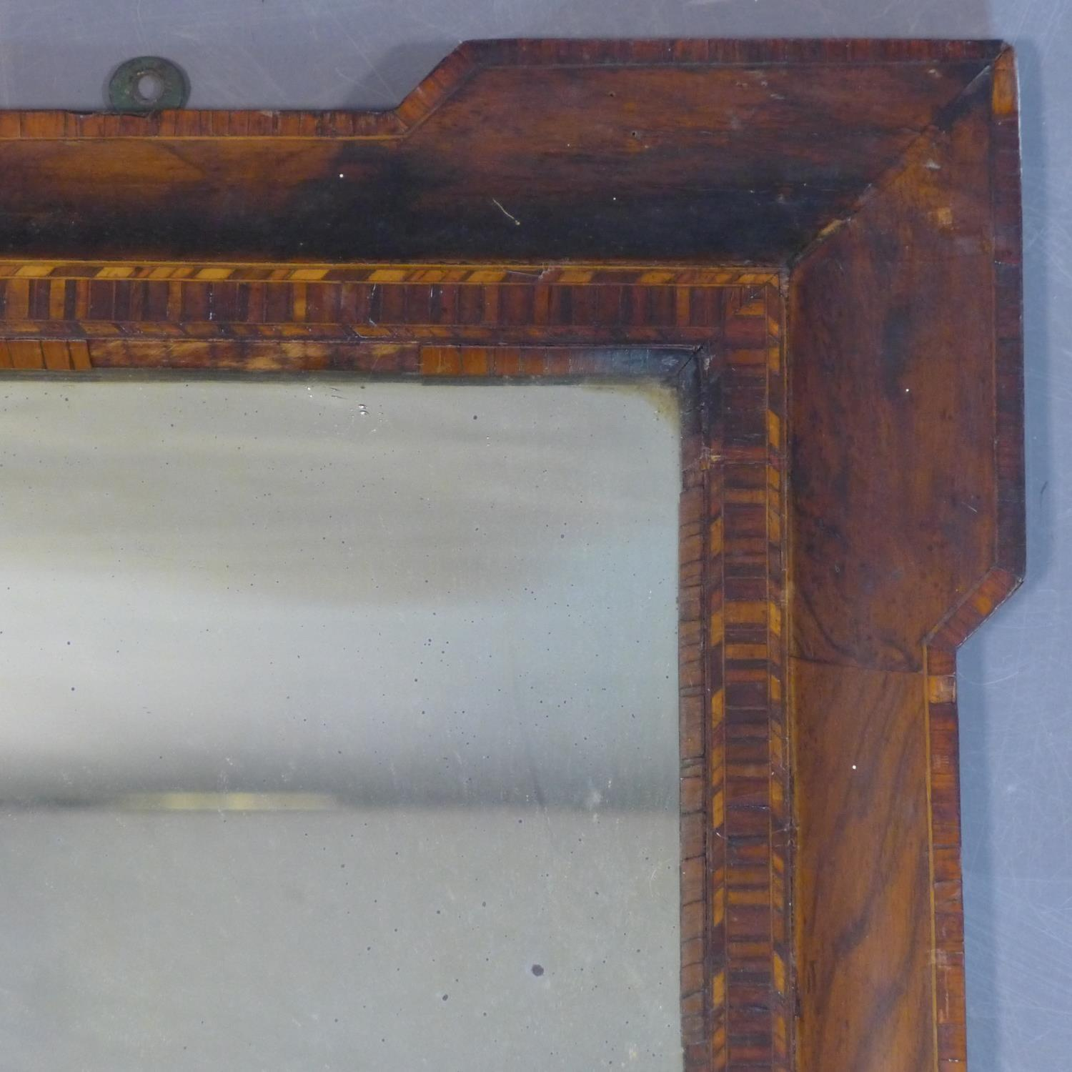 Lot 175 - An inlaid overmantle mirror with original glass plate, some marquetry and veneer pieces missing,