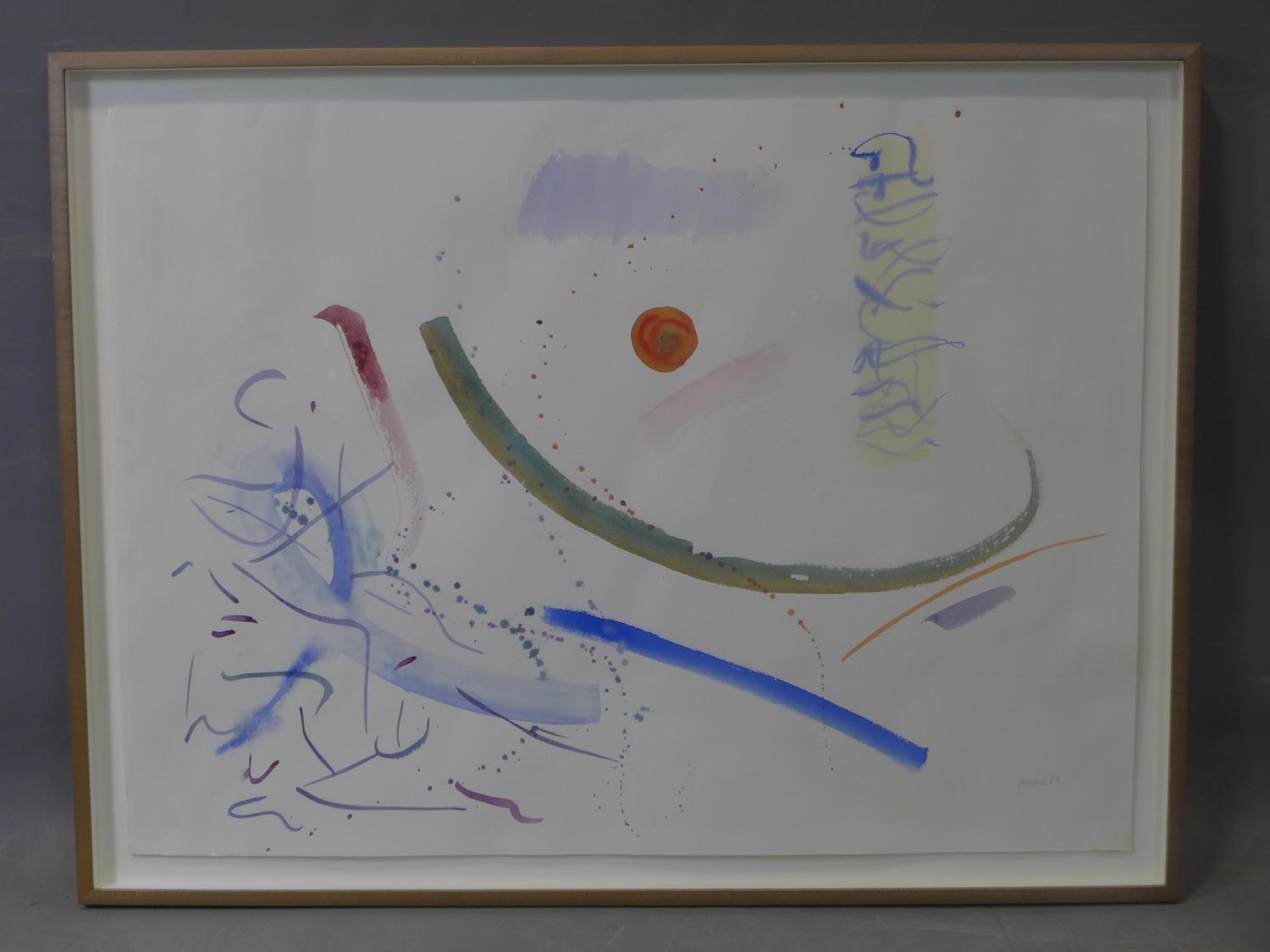 Lot 101 - Hermione Holmes (20th century), abstract study, watercolour, signed 'Mani 87' in pencil to lower