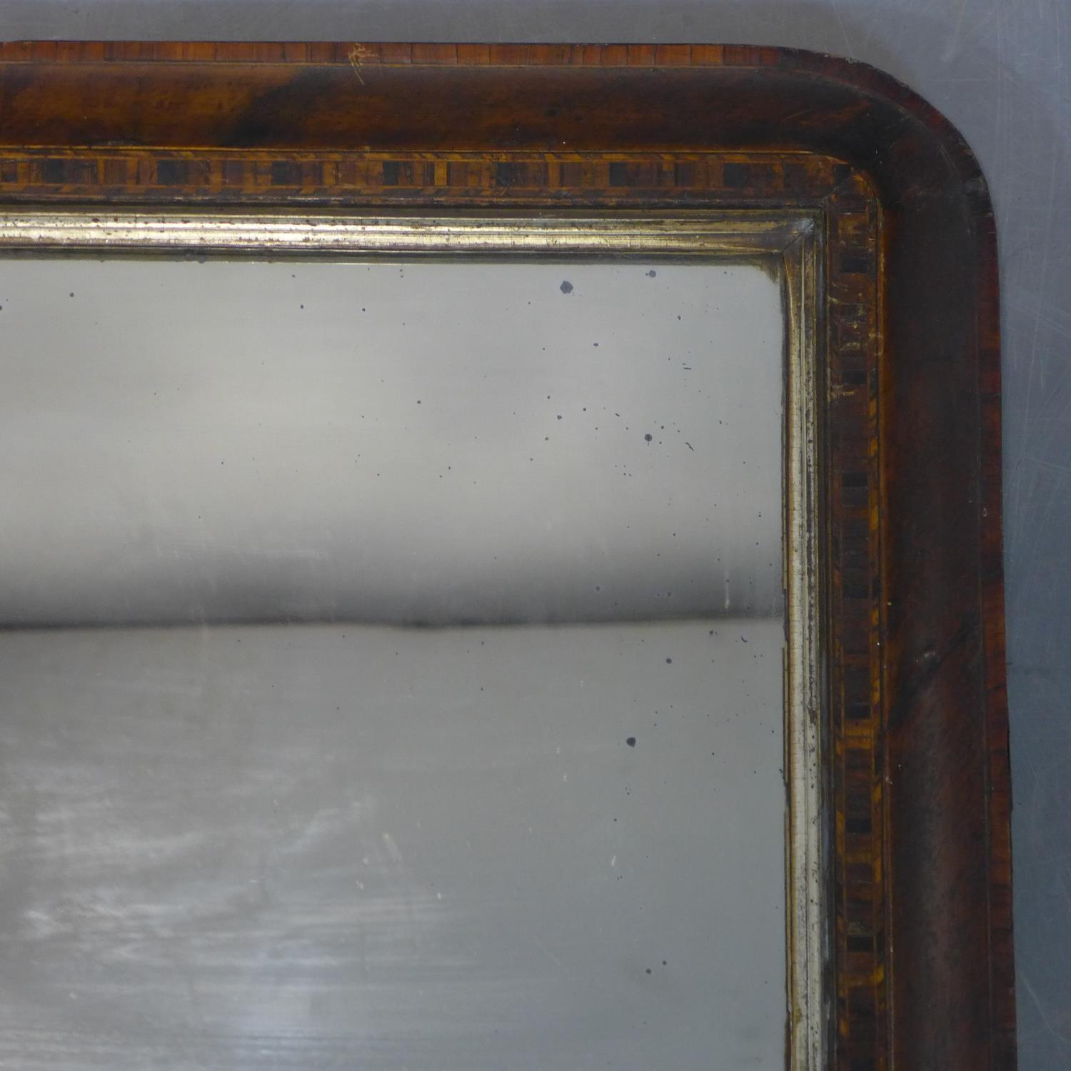 Lot 171 - An inlaid walnut overmantle mirror, 43 x 72cm