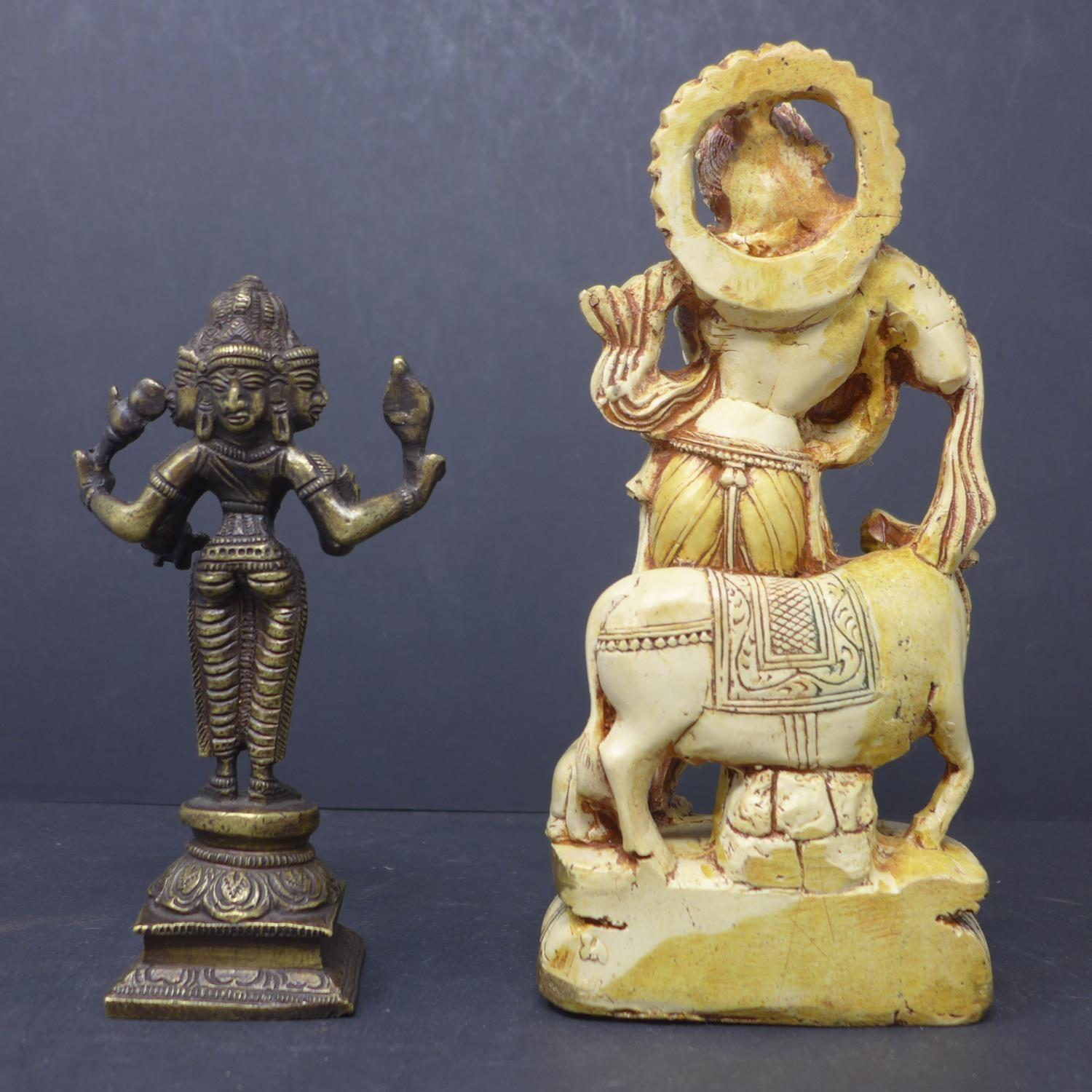 Lot 267 - A bronze statue of Hindu deity Brahma, H.16cm, together with a moulded statue of Krishna, H.21cm