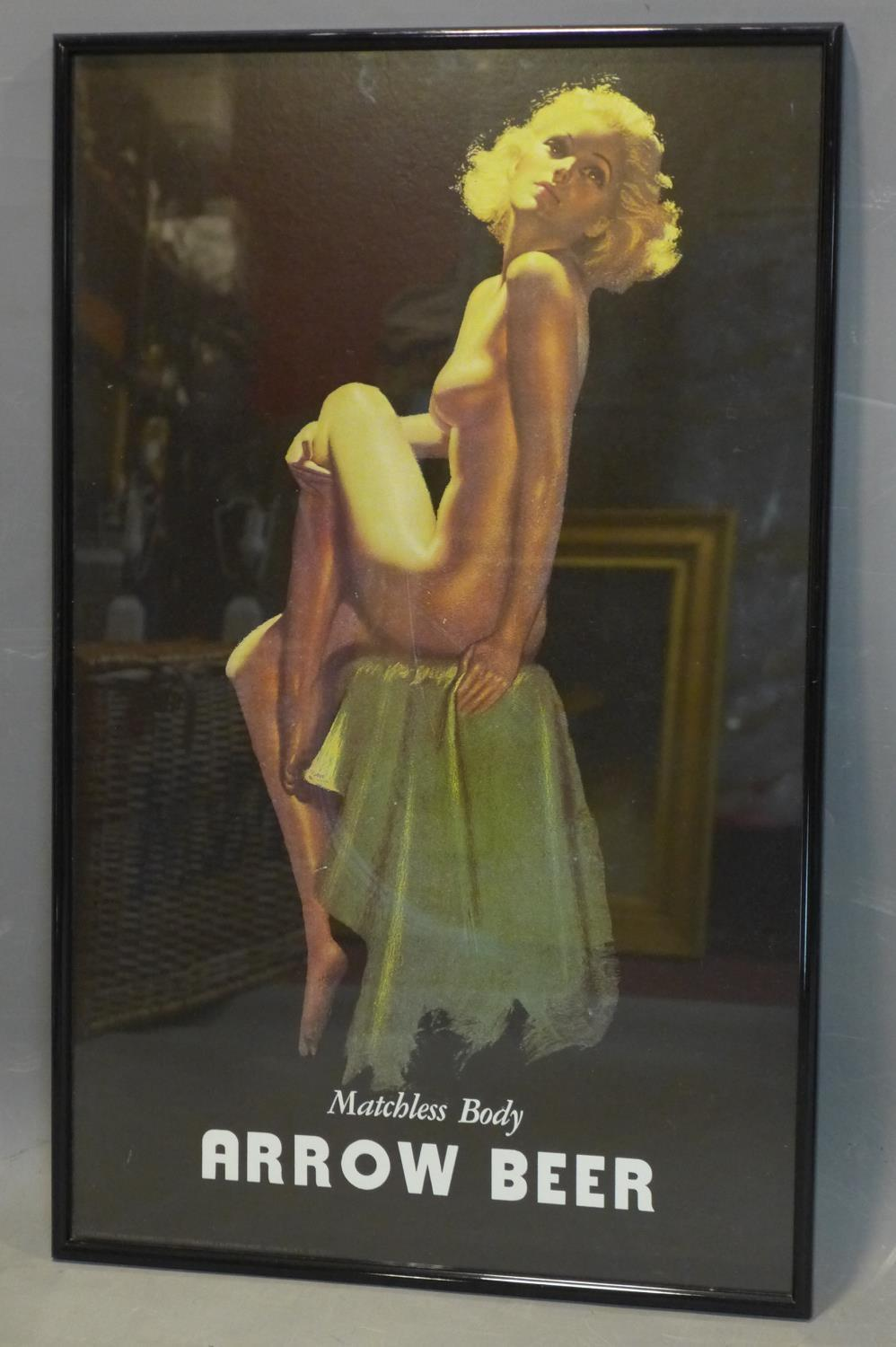 Lot 287 - A rare reproduction of Arrow Beer's vintage 'Matchless Body' advertising campaign by pin-up artist
