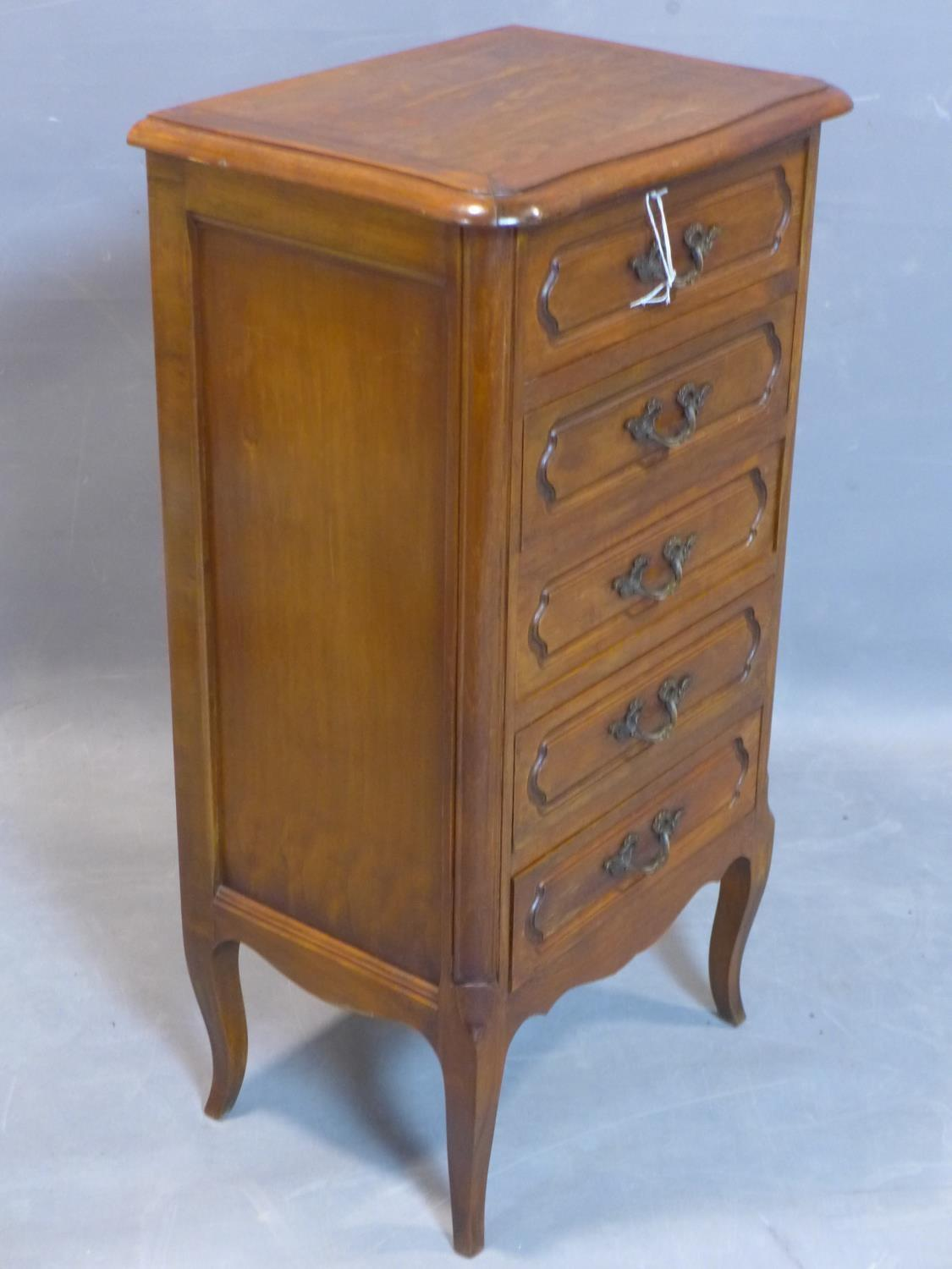 Lot 76 - A French pedestal chest of five drawers, on cabriole feet, H.85 W.46 D.34cm