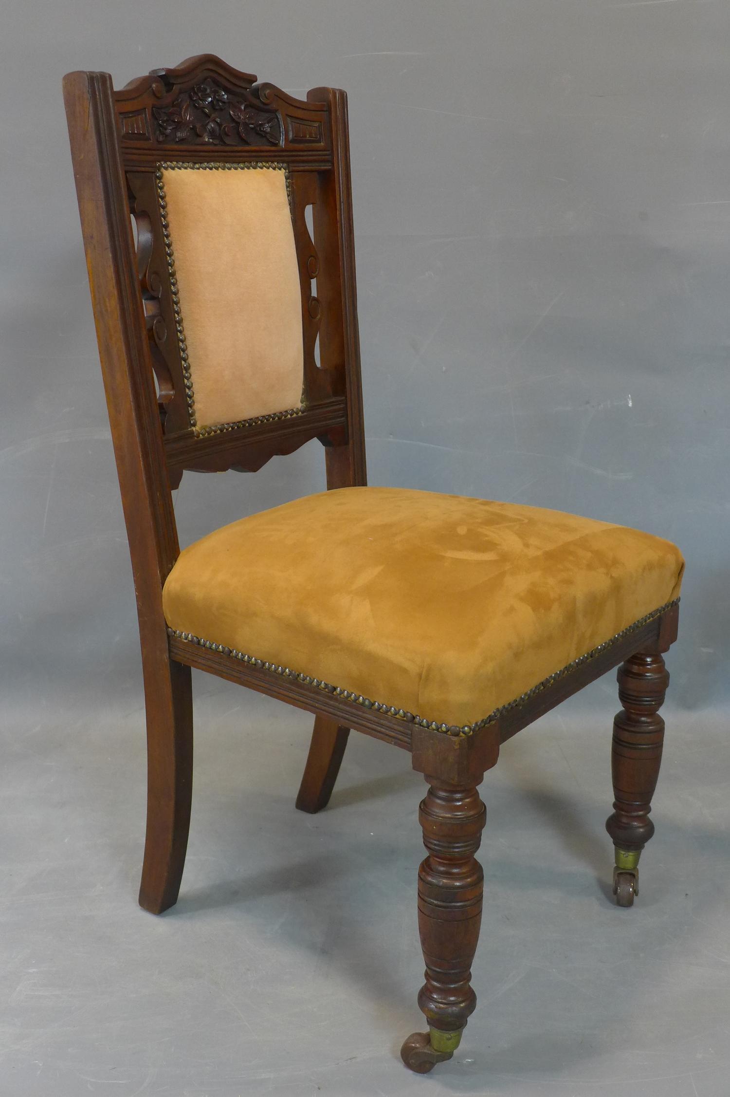 Lot 205 - Caramel coloured Victorian dining chair, together with Blue Victorian walnut dining chair and an