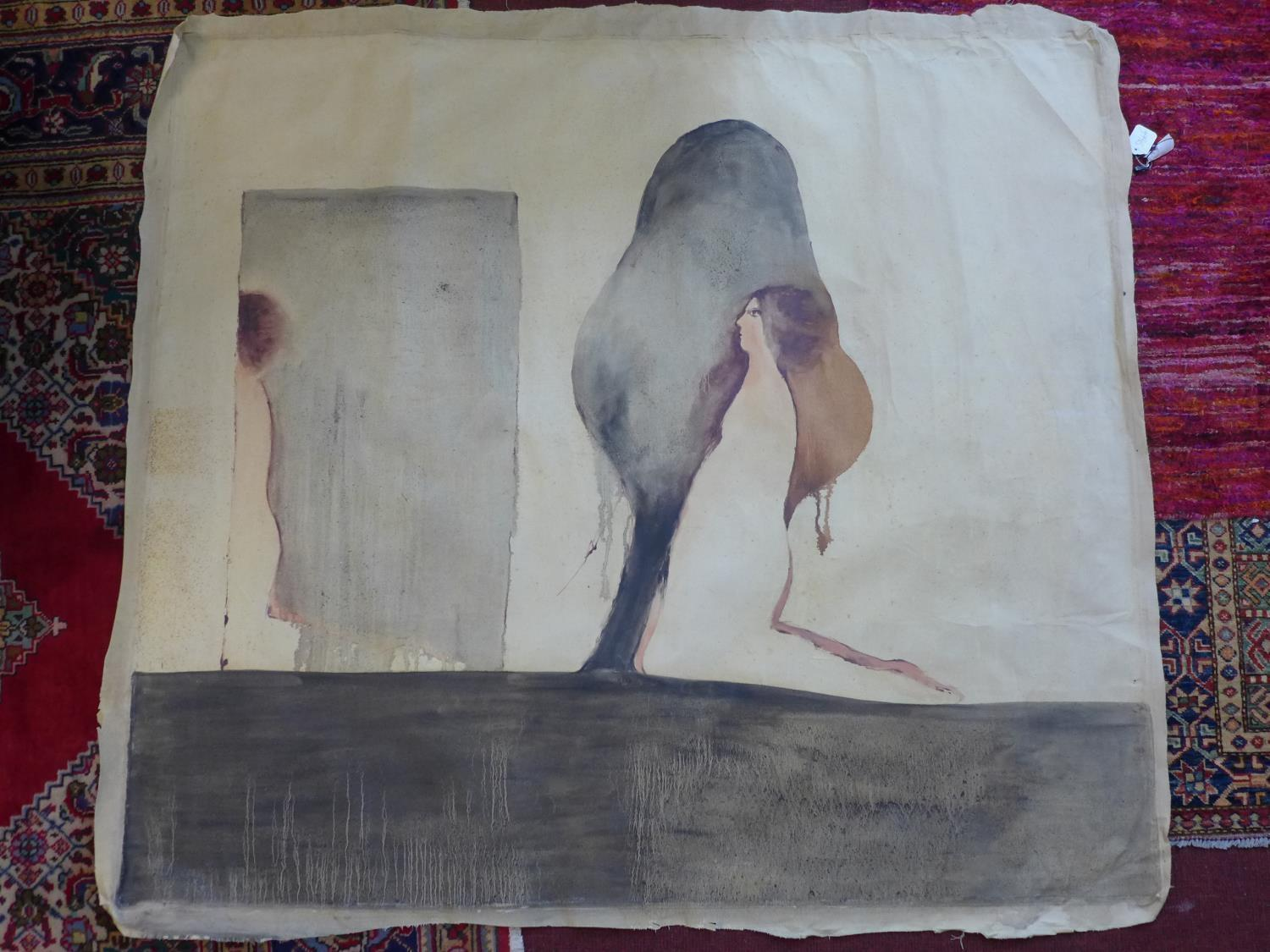 Lot 300 - A naive study of women, tempera on canvas, unframed, 136 x 150cm