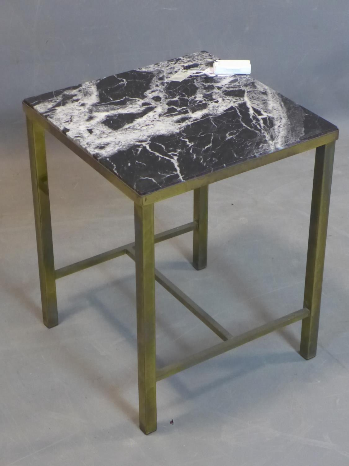 Lot 253 - A brass and marble lamp table with label for Maples Depository, on square legs, H.49 W.39 D.38.5cm