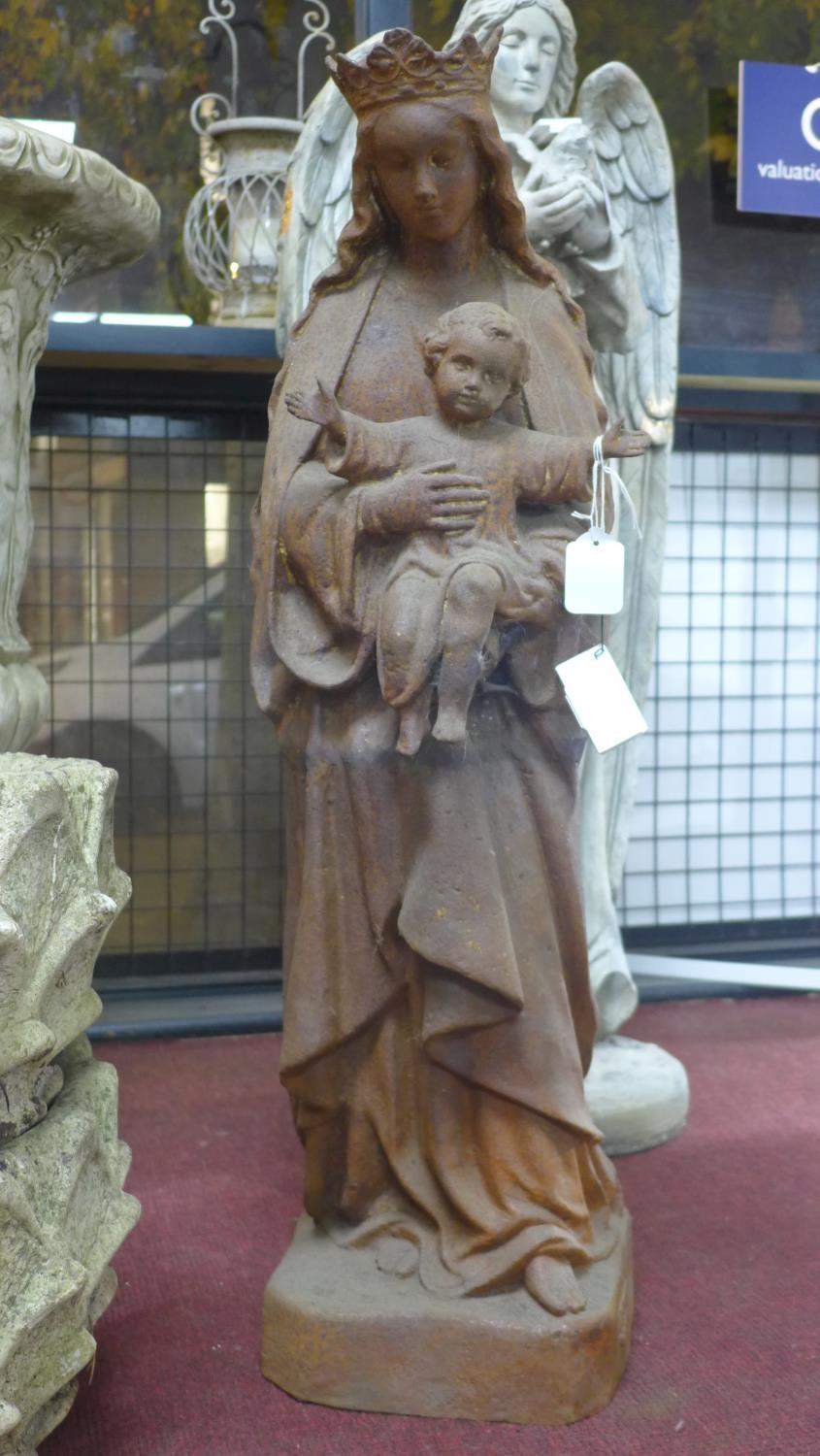 Lot 43 - A cast iron statue of Mary holding an infant Jesus, H.94cm