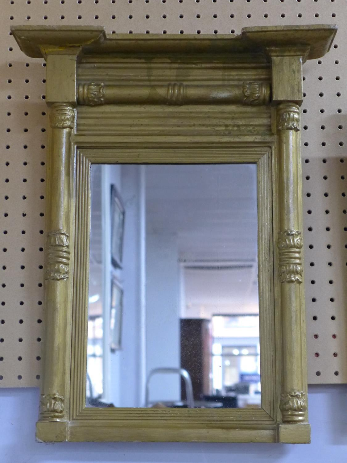 Lot 179 - A giltwood pier mirror, with breakfront pediment and acanthus carved column supports, 56 x 45cm