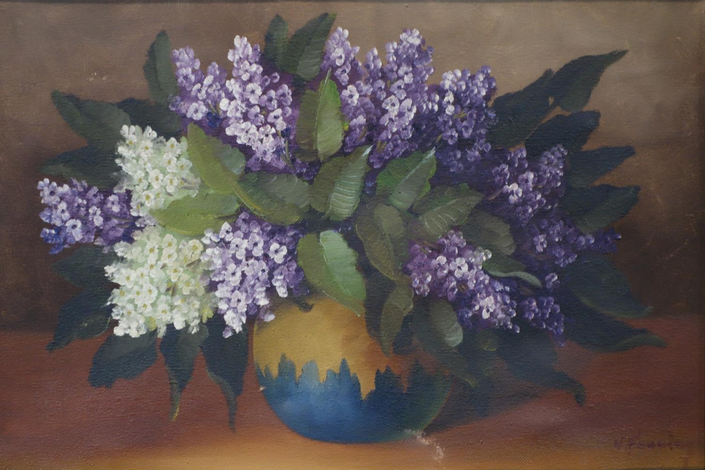 Lot 694 - 20th century Dutch school, A pot of hydrangeas, oil on canvas, signed, framed, 74 x 50 cm