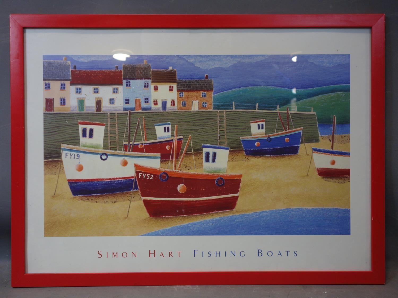 Lot 692 - Contemporary British artist Simon Hart, Fishing boats, print, framed and glazed, 52 x 79 cm