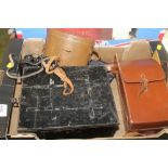 Lot 477 - A PAIR OF HARROD'S POPULAIRE BINOCULARS, HIP FLASK ETC