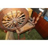 Lot 475 - A VINTAGE TURNED WOOD SPINNING WHEEL