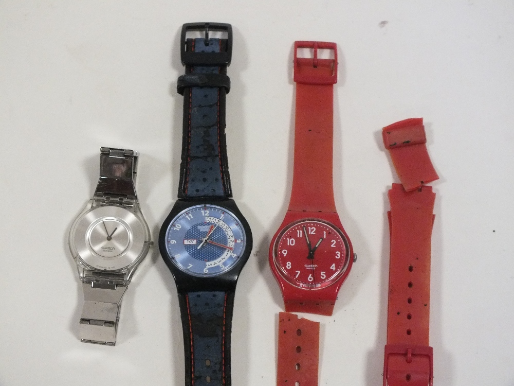 Lot 348 - THREE SWATCH WRIST WATCHES