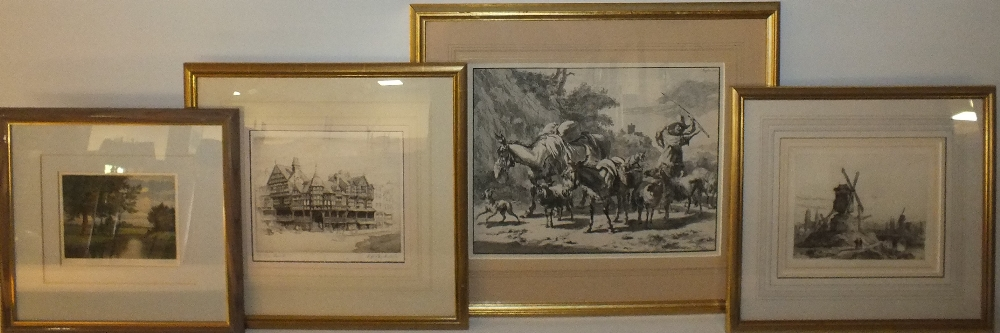 Lot 25 - BERGEHM (XVII). Dutch school, mountainous track with dog, sheep, donkeys and drover, unsigned,