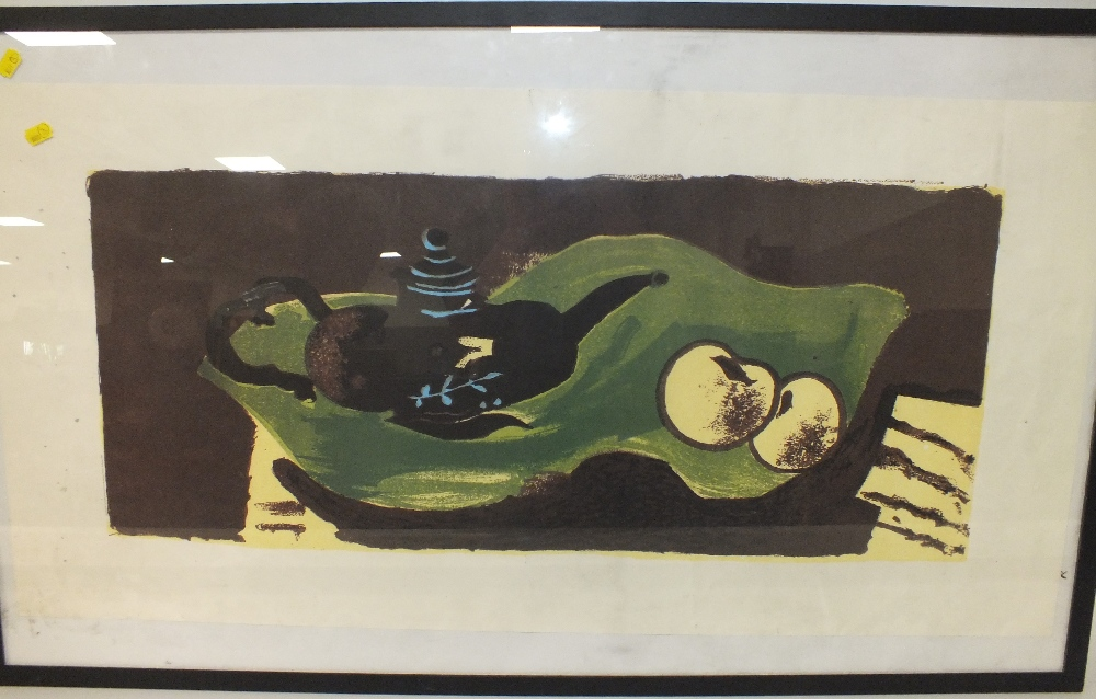 Lot 44 - AFTER GEORGES BRAQUE (1882-1963). Abstract composition 'Teapot & Apples', see verso, unsigned,