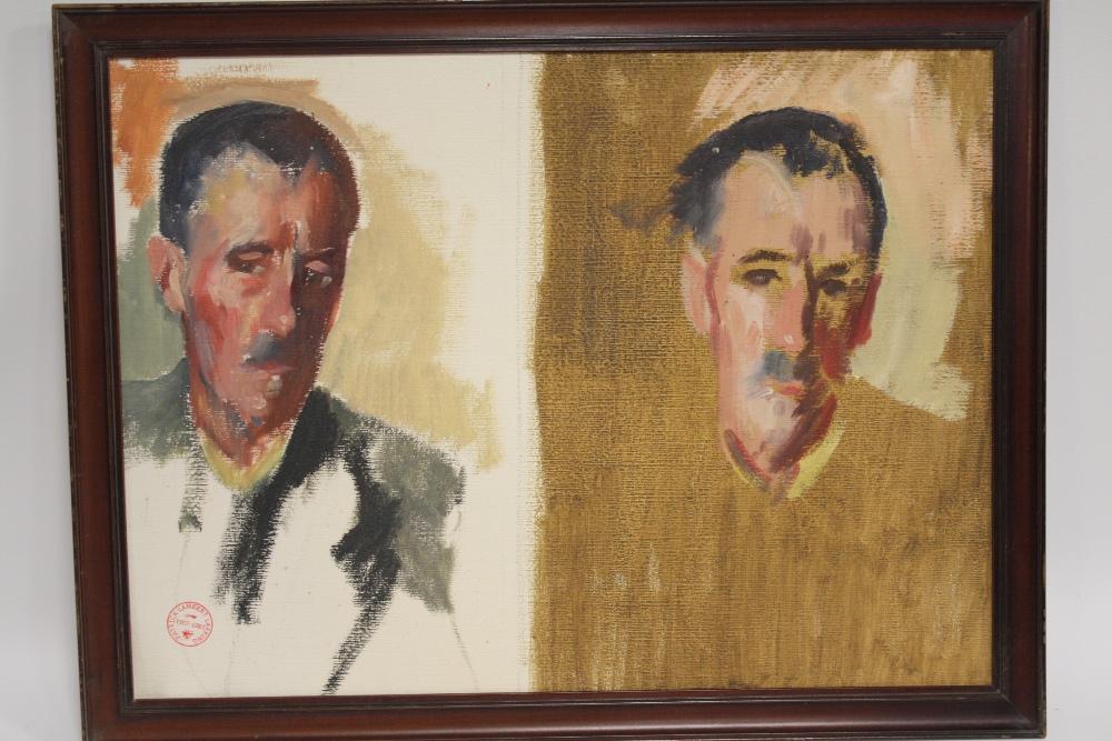 Lot 221 - PATRICK LAMBERT LARKING (1907-1981). Two portrait studies in one frame of the same man, studio stamp