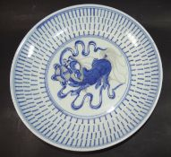 China-Schale, mittig mit Fu-Hund, Blaumalerei, älter, D-26 cm, H-4,5 c