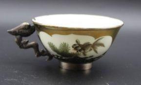 Teetasse, China, Silbermontur (gepr.), Handbemalt, gemarkt, H-4cm.