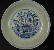 kl. Schale, China Mingzeit um 1500, Blaumalerei, H-3 cm, D-15 cm