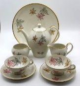 Mokkakern mit 2 Tassen sowie Gebäckschale, Thomas, florales Dekor, Kanne H-12cm.