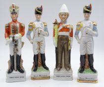 4x Porzellan Figuren,handgemalt,ungemarkt,H-15,5cm