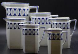 6x Küchengefäße,Kannen,blaues Dekor,ungemarkt,H-8-1