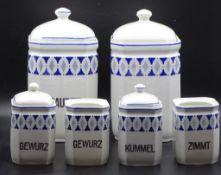 6x Küchengefäße,2x ohne Deckel,blaues Dekor,8,5-2