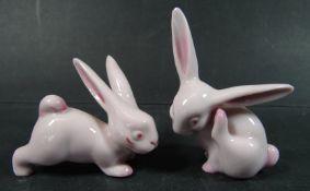 """2 kleine Häschen """"Metzler&Orloff"""", rosa, H-4-5 cm,"""