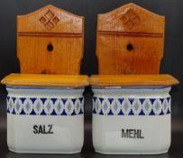 Zwei Küchengefäße Mehl und Salz,Holzdeckel,H-2