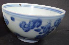 Reisschale, China, Mingzeit um 1600, Blaumalerei, H-6,5 cm, D-11,5 cm