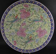 grosser Wandteller, China, Drachendekor, gemarkt, D-45 cm