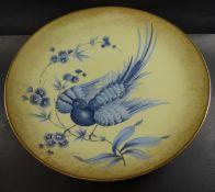 grosse Rosenthal Aufsatzschale mit blauen Vogel, H-7,5 cm, D-33 cm