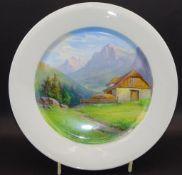 """Ansichtenteller """"Meissen"""" Alpenlandschaft, Schwertermarke, 1.Wah,lD-27 cm,"""