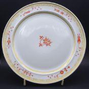 """grosse Art Deco Platte """"Meissen"""" rote stilis. Blumen mit Gold, Entw. Prof. Paul Börner, D-27 cm,"""