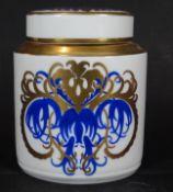 """Teedose """"Hutschenreuther"""" Entw. Prof. F.Klee, blau/gold, H-13 cm, B-10,5 cm"""