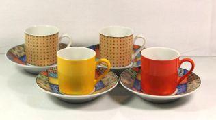 4x Mokkatassen mit U.T., Eschenbach living colours, H-5,5cm.
